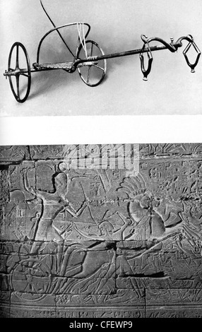 Top: ancient Egyptian chariot. Bottom:  Seti I in his chariot heading to battle. - Stock Photo
