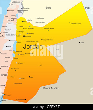 Abstract vector color map of Jordan Stock Vector Art