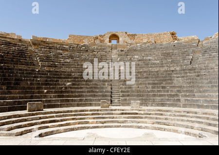 Dougga. Tunisia. View of the 3 tiers of 19 rows each which accommodated an audience of 3500 of the well preserved - Stock Photo