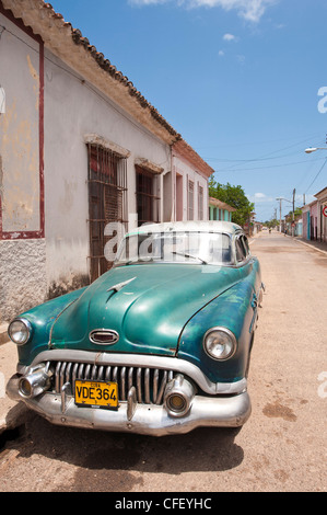 Old 1950s car, Remedios, Cuba, West Indies, Central America - Stock Photo