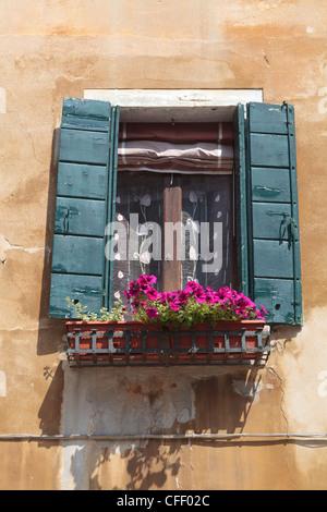 Window and shutters, Venice, Veneto, Italy, Europe - Stock Photo