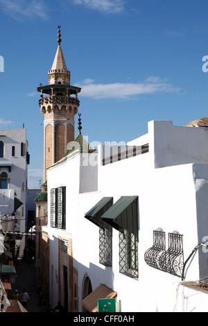 Minaret of the Hammouda Pasha Mosque (Hamouda Pacha al Mouradi), Medina, Tunis, Tunisia, North Africa, Africa - Stock Photo