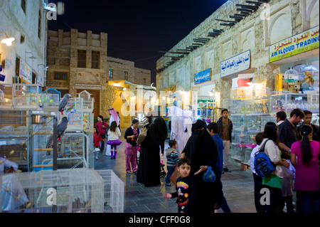 Visitors in the renovated Bazar Souq Waqif, Doha, Qatar, Middle East - Stock Photo