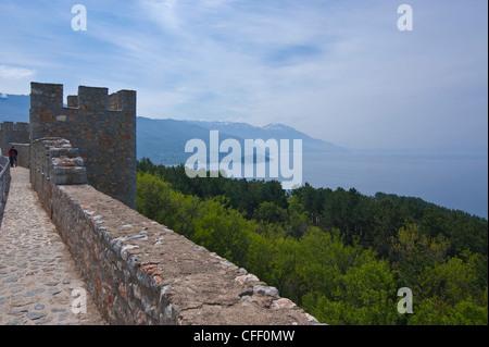 Castle at Ohrid,Lake Ohrid, UNESCO World Heritage Site, Macedonia, Europe - Stock Photo