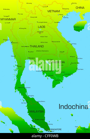 Vector map of Indochina countries  - Stock Photo