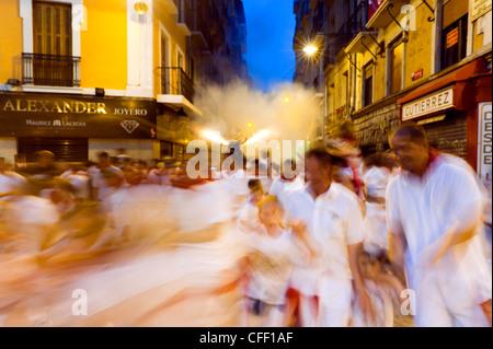 El Toro de Fuego (Firework Bull Run), San Fermin festival, Town Hall Square, Pamplona, Navarra (Navarre), Spain, - Stock Photo