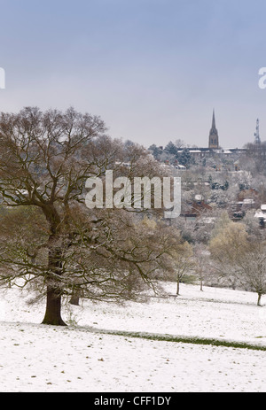 Hampstead Heath in the snow, London, England, United Kingdom, Europe - Stock Photo