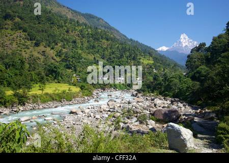 Modi River valley with views of Machhapuchhare (Fish Tail), trek from Ghandruk to Nayapul, Annapurna Sanctuary Region, - Stock Photo