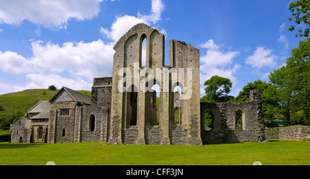 Valle Crucis, ruined Cistercian abbey, in Llantysilio, near Llangollen, Denbighshire, Wales, United Kingdom, Europe - Stock Photo