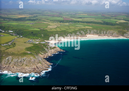 Aerial photo of Lands End Peninsula looking east to the Minnack Theatre, West Penwith, Cornwall, England, UK - Stock Photo