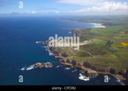 Aerial photo of Lands End Peninsula, West Penwith, Cornwall, England, United Kingdom, Europe - Stock Photo