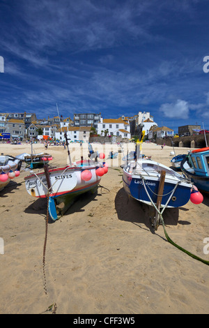 Fishing boats in the old harbour, St. Ives, Cornwall, England, United Kingdom, Europe - Stock Photo