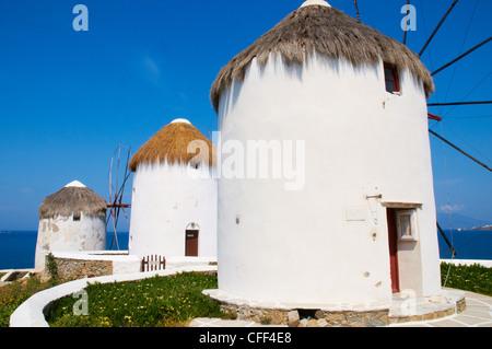 The five mills of Mykonos (Kato Mili), Mykonos, Cyclades, Greek Islands, Greece, Europe - Stock Photo