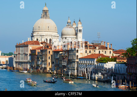 The Church of Santa Maria della Salute and the Grand Canal, viewed from the Academia Bridge, Venice, Veneto, Italy - Stock Photo