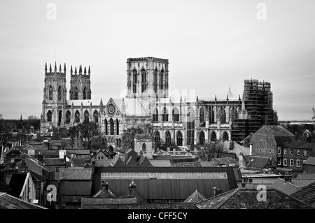 York Minster with rooftops, York. - Stock Photo