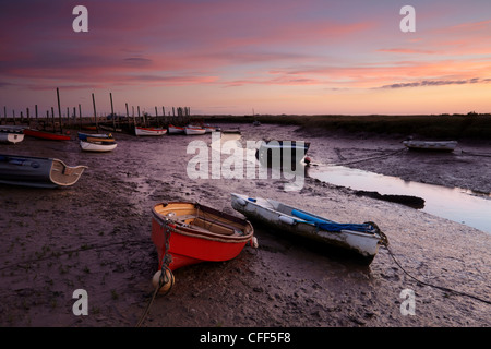 A beautiful sunrise at Morston Quay, North Norfolk, England, United Kingdom, Europe - Stock Photo