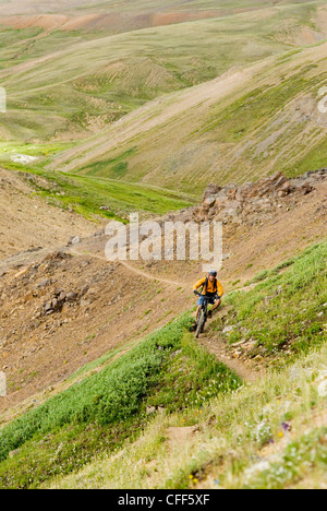 Mountain biker rides the trail down from Deer Pass, Southern Chilcotin Mountains, British Columbia, Canada. - Stock Photo
