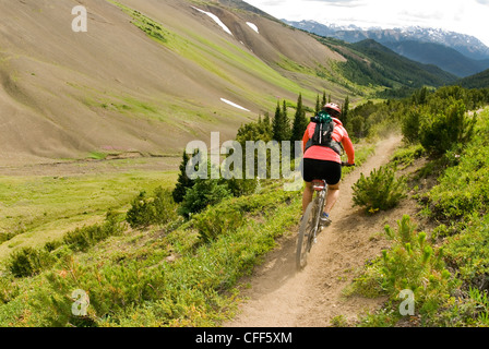 Mountain biker rides down from Windy Pass, Southern Chilcotin Mountains, British Columbia, Canada. - Stock Photo