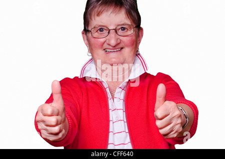 pensioner with thumbs up - Stock Photo