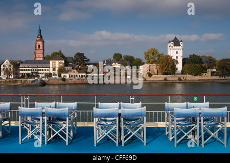 Chairs and tables on sundeck aboard Rhine river cruise ship, MS Bellevue, TC Bellevue, TransOcean Kreuzfahrten, - Stock Photo