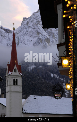Church at Seis am Schlern in the evening, Schlern, Dolomites, Alto Adige, South Tyrol, Italy, Europe - Stock Photo