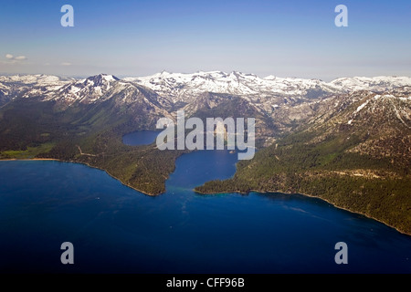 An aerial photograph of Lake Tahoe and Emerald Bay in the summer with Desolation Wilderness still covered in snow, - Stock Photo