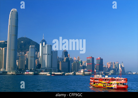 China, Hong Kong, Star Ferry and City Skyline - Stock Photo