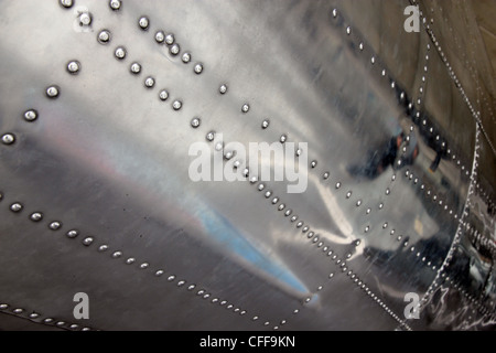 Rivets In Sheet Aluminium Body Of World War Two Aircraft