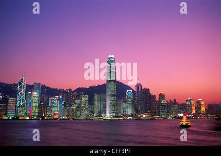 China, Hong Kong, City Skyline and Victoria Harbour at Night