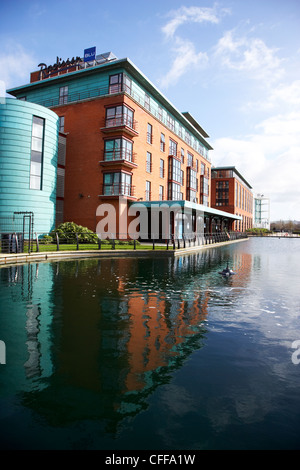Radisson Blu hotel and water feature on the gasworks site Belfast Northern Ireland UK - Stock Photo
