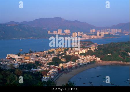 China, Hong Kong, Lantau, Peng Chau Island with Discovery Bay in Background - Stock Photo