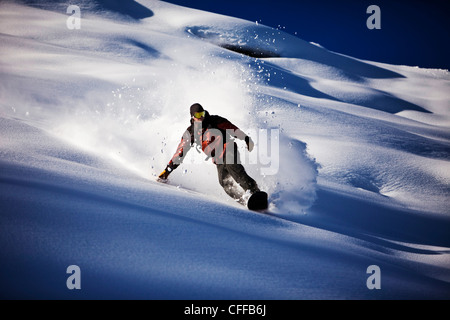 A athletic snowboarder rips fresh powder turns in the backcountry on a sunny day in Colorado. - Stock Photo