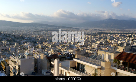 europe greece athens a view of the sprawling western suburbs with mount parnitha in the distance from galatsi - Stock Photo