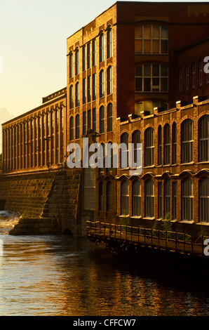 Factory buildings beside the Tammerkoski rapids at Tampere (Tammerfors) Finland. - Stock Photo