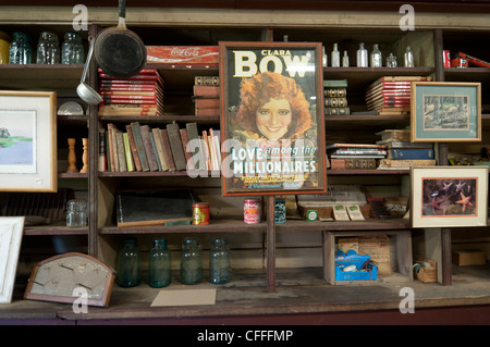 Evinston Florida historic old Wood and Swink country store with shelves lined with nostalgic items. - Stock Photo