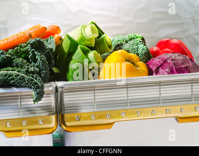 various vegetable in retro refrigerator bin - Stock Photo