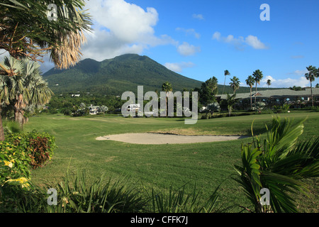 Four Seasons Hotel Golf Course in Nevis Caribbean - Stock Photo