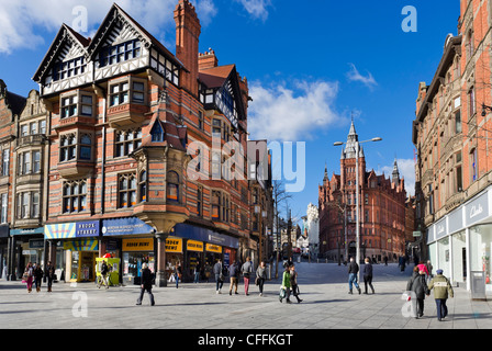 Shops at the junction of King Street and Long Row from  Old Market Square in the city centre, Nottingham, England, - Stock Photo