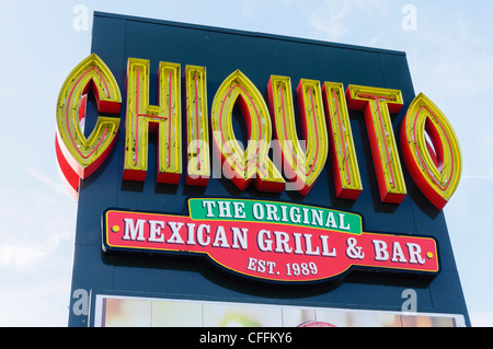 Sign for Chiquito mexican grill and bar - Stock Photo