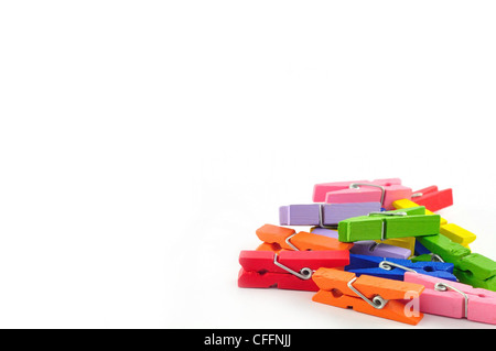 wooden clothes pin color with Path - Stock Photo