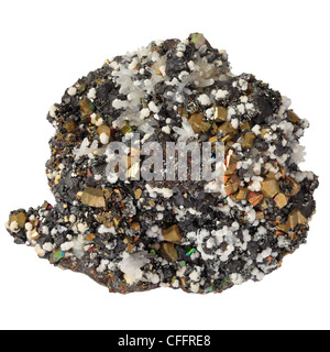 Mineral of sphalerite, iron pyrite, calcite and quartz from the Andes. - Stock Photo