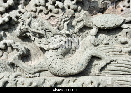 Typical Chinese carven dragon on wall expressing power and status in ancient thailand - Stock Photo