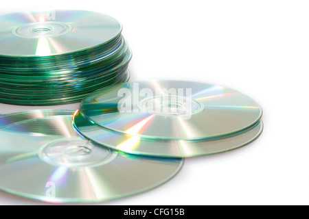group of compact discs cd-rom on a white background - Stock Photo