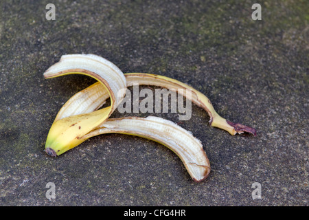 Discarded banana skin left on path taken in Bristol, United Kingdom - Stock Photo