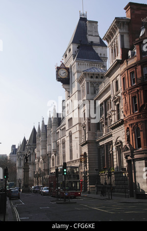 Fleet Street London Royal Courts of Justice on right - Stock Photo