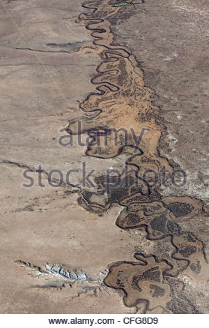 Aerial view of the South Platte River meandering in a valley. - Stock Photo