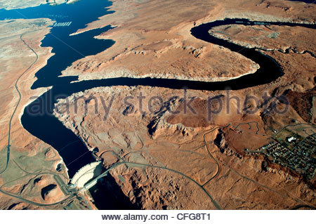Aerial view looking down on Lake Powell and the Glen Canyon dam. - Stock Photo