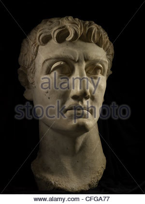 A marble bust of Roman emperor Augustus. - Stock Photo