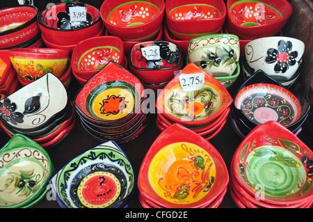 Spain Andalucia - Mijas - display of local ceramics - tourist souvenirs - Stock Photo