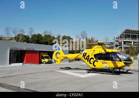 race track hospital of Circuit de Catalunya in Spain with helicopter and ambulance